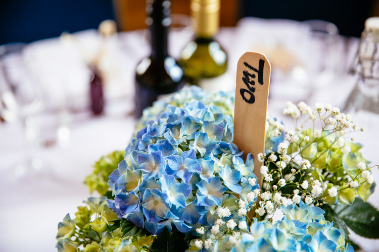 Stick Table Names Numbers Hydrangeas Relaxed Vintage Stylish Country Wedding http://www.cassandralane.co.uk/