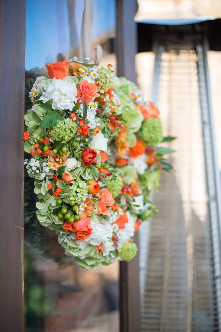 Orange Heart Wreath Flowers Green Charming Orange Navy Rustic Wedding http://www.kayleighpope.co.uk/
