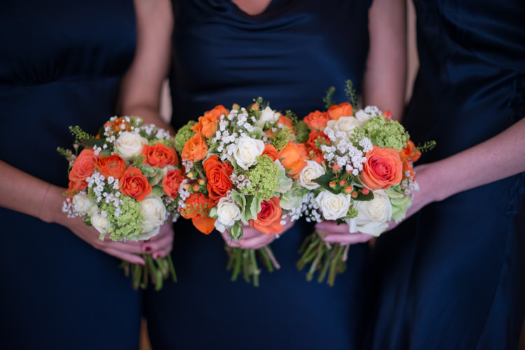 Bridesmaid Bouquets Flowers Rose Charming Orange Navy Rustic Wedding http://www.kayleighpope.co.uk/