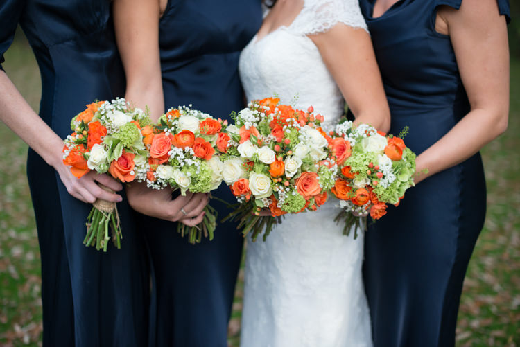 Rose Ivory Bouquets Flowers Bride Bridesmaid Bridal Autumn Charming Orange Navy Rustic Wedding http://www.kayleighpope.co.uk/