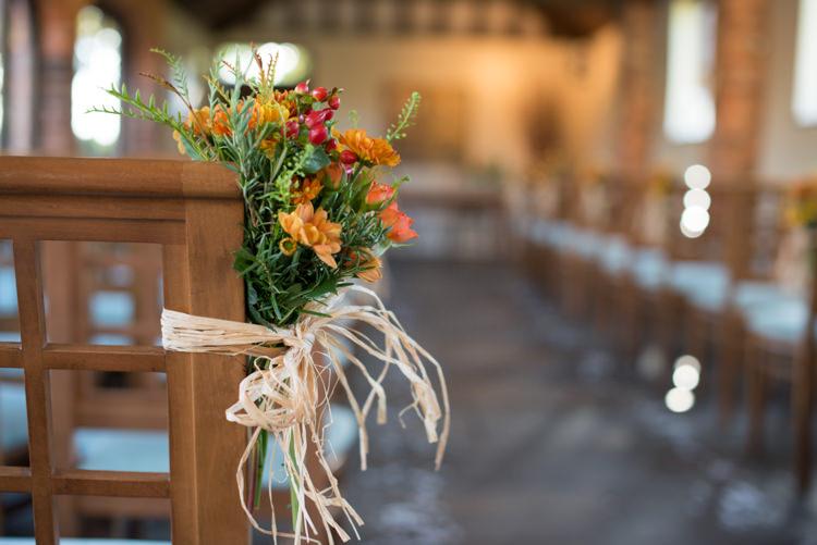Raffia Orange Berries Flowers Pew Ends Charming Orange Navy Rustic Wedding http://www.kayleighpope.co.uk/