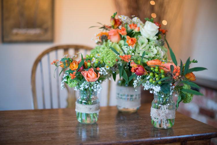 Jar Flowers Hessian Lace Charming Orange Navy Rustic Wedding http://www.kayleighpope.co.uk/