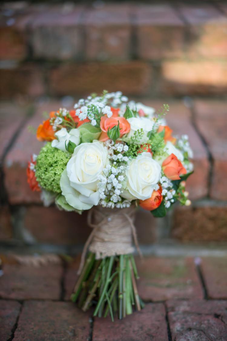 Ivory Green Rose Bouquet Flowers Bride Bridal Charming Orange Navy Rustic Wedding http://www.kayleighpope.co.uk/