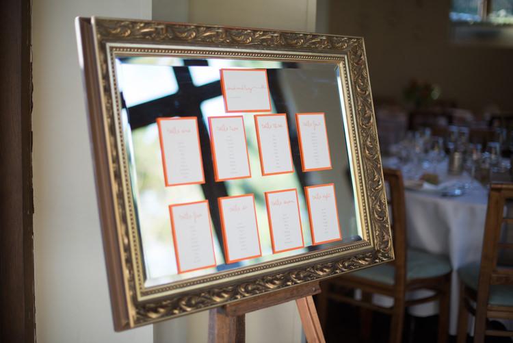 Mirror Table Seating Plan Charming Orange Navy Rustic Wedding http://www.kayleighpope.co.uk/