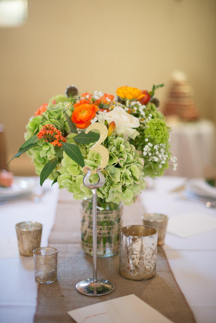 Green Hydrangeas Flowers Centerpiece Roses Tables Charming Orange Navy Rustic Wedding http://www.kayleighpope.co.uk/