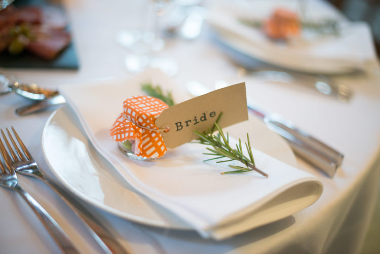Luggage Tag Place Names Herb Setting Charming Orange Navy Rustic Wedding http://www.kayleighpope.co.uk/