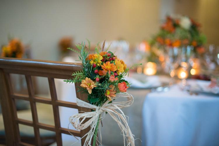 Flower Chair Decor Raffia Charming Orange Navy Rustic Wedding http://www.kayleighpope.co.uk/