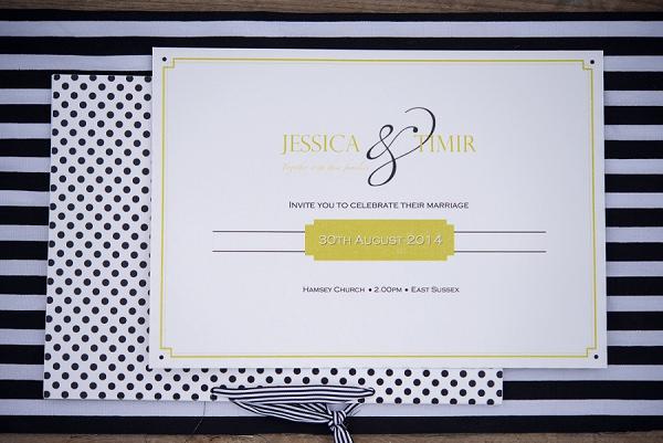 Spot Stripe Stationery Invitations Stylish Modern Monochrome Village Hall Wedding http://www.sarareeve.com/