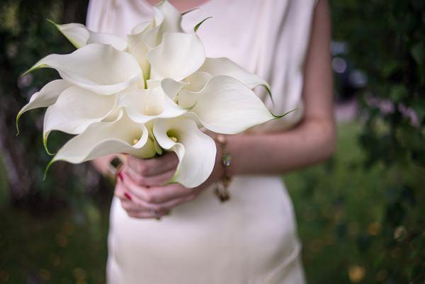 White Calla Lily Bouquet Flowers Bride Bridal Stylish Modern Monochrome Village Hall Wedding http://www.sarareeve.com/