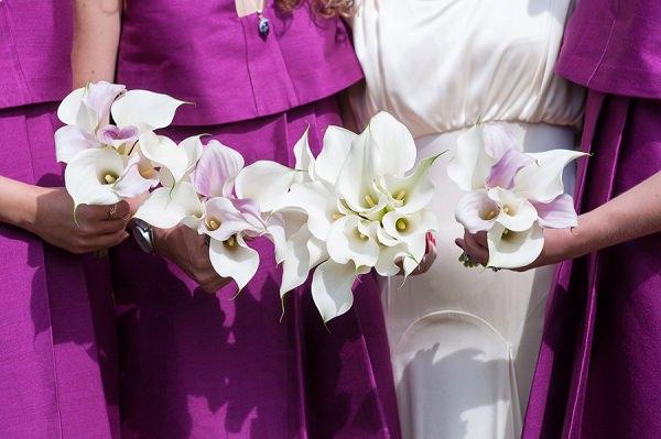 Calla Lily Bridesmaid Bouquets Pink White Stylish Modern Monochrome Village Hall Wedding http://www.sarareeve.com/