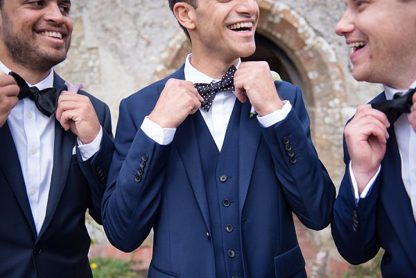 Bow Tie Groom Stylish Modern Monochrome Village Hall Wedding http://www.sarareeve.com/