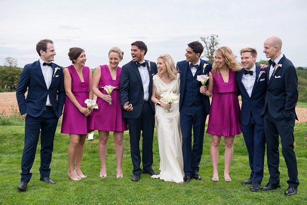 Pink Bridesmaid Dresses & Other Stories Black Tie Groom Bowtie Stylish Modern Monochrome Village Hall Wedding http://www.sarareeve.com/