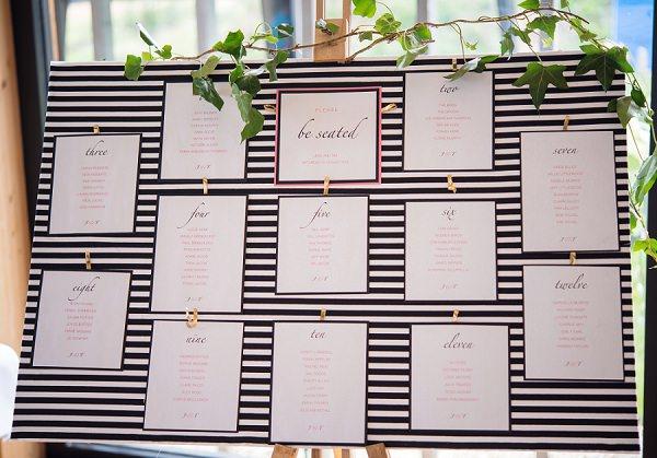 Stripe Stripy Black White Table Seating Plan Stylish Modern Monochrome Village Hall Wedding http://www.sarareeve.com/