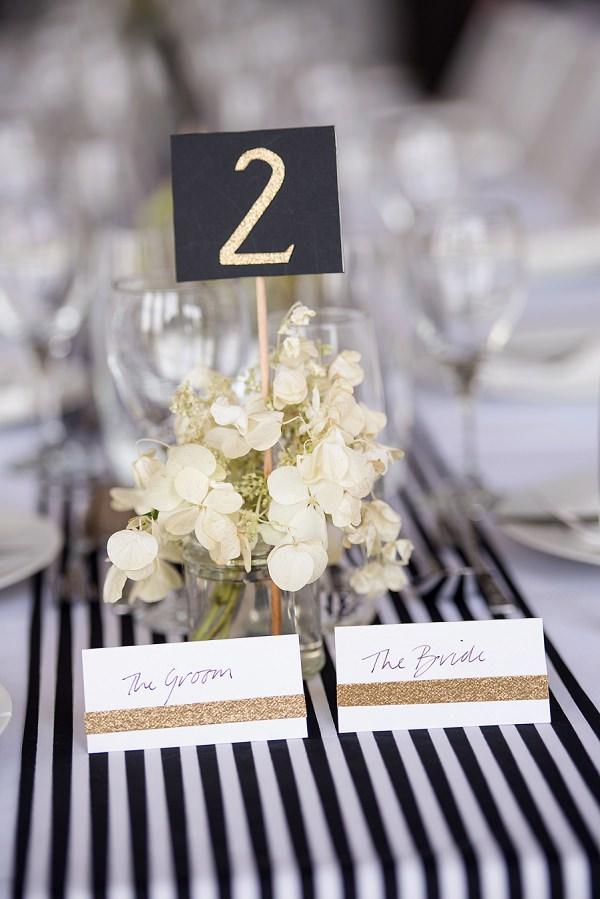 Stripe Stripes Glitter Table Decor Names White Black Stylish Modern Monochrome Village Hall Wedding http://www.sarareeve.com/
