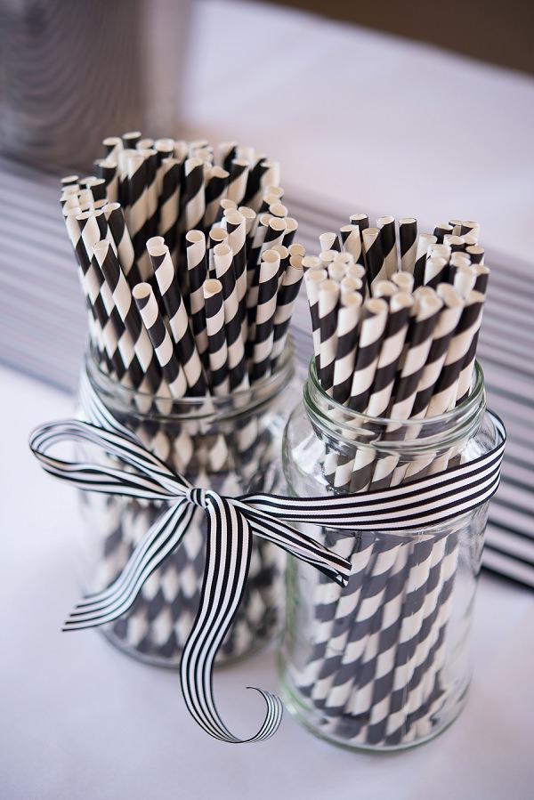 Stripe Stripy Straws Black White Ribbon Decor Stylish Modern Monochrome Village Hall Wedding http://www.sarareeve.com/