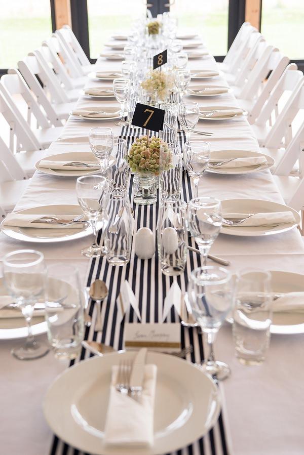 Stripe Stripy Table Cloth Runners Black White Stylish Modern Monochrome Village Hall Wedding http://www.sarareeve.com/