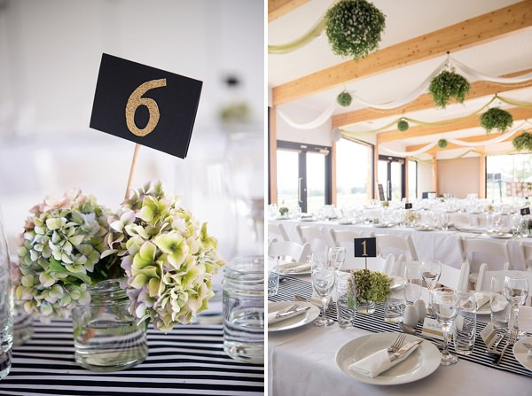Black White Decor Stylish Modern Monochrome Village Hall Wedding http://www.sarareeve.com/