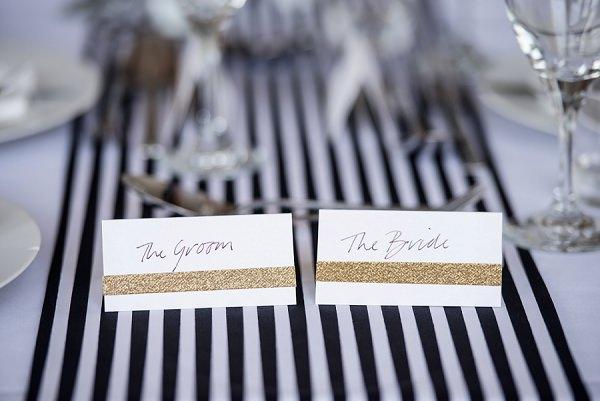 Glitter Place Names Decor Stylish Modern Monochrome Village Hall Wedding http://www.sarareeve.com/