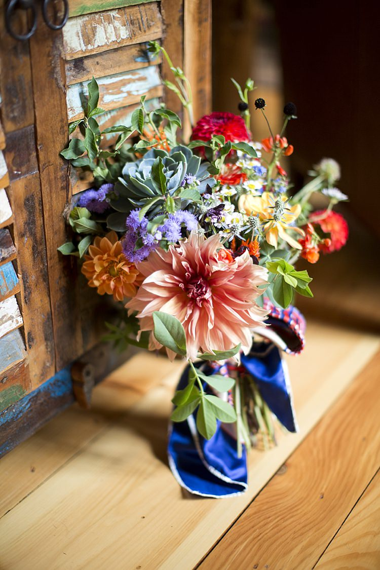 Colourful Wild Bouquet Flowers Bride Bridal Light Hearted Fun Quirky Farm Pennsylvania Wedding http://www.kelseykradel.com/
