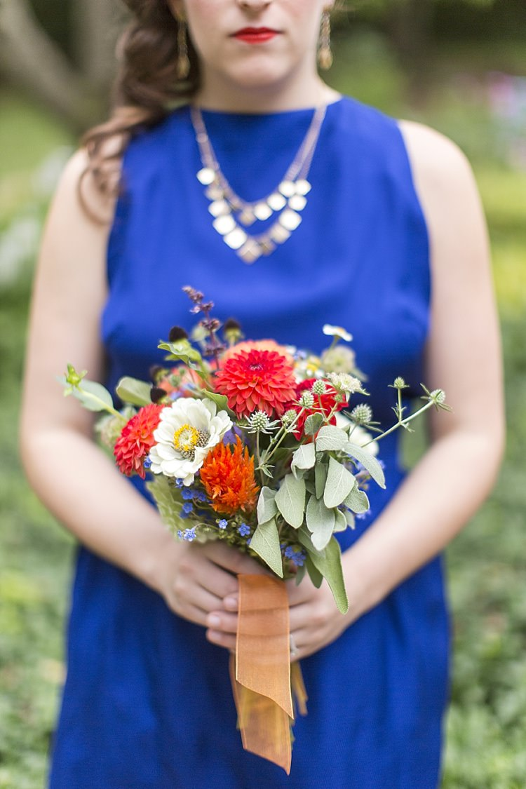 Colourful Wild Bouquet Flowers Bridesmaid Red White Ribbon Light Hearted Fun Quirky Farm Pennsylvania Wedding http://www.kelseykradel.com/