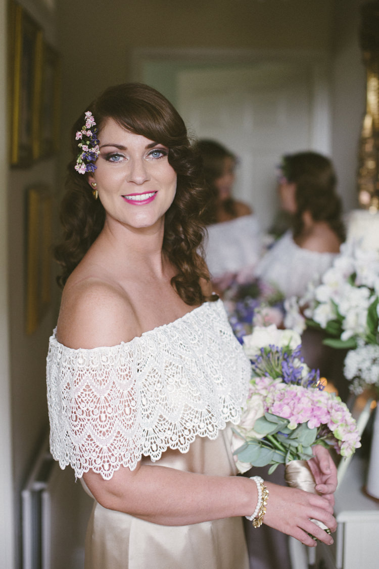 Bridesmaid Flowers Hair Make Up Relaxed Bohemian Glamour Pink Blue Wedding http://sarahfyffe.ie/