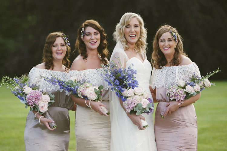 Bridesmaids Off Shoulder 1970s Lace Pastel Dresses Relaxed Bohemian Glamour Pink Blue Wedding http://sarahfyffe.ie/