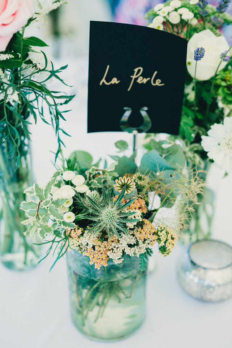 Thistle Green Flowers Foliage Jars Pretty Centrepiece Tables Stylish Rural Relaxed Bohemian Wedding http://peppermintlovephotography.com/