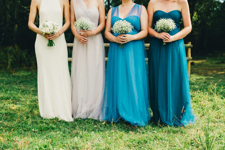 Tulle Long Bridesmaid Dresses Lavender Lilac Ombre Blue Teal Stylish Rural Relaxed Bohemian Wedding http://peppermintlovephotography.com/