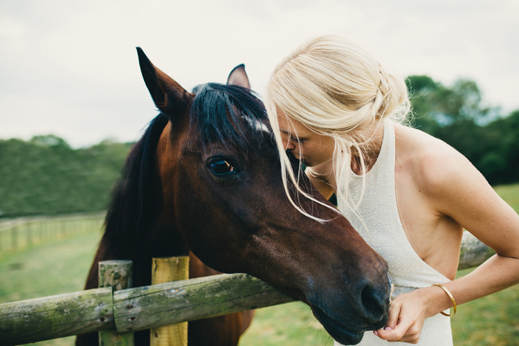 Bride Horse Stylish Rural Relaxed Bohemian Wedding http://peppermintlovephotography.com/