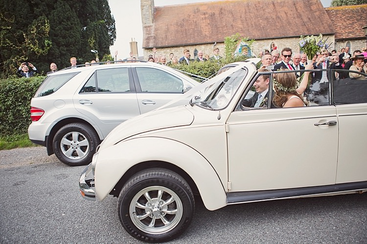 Beetle Car Transport Stylish Creative Wild Flower Crowns Tipi Wedding http://www.cottoncandyweddings.co.uk/