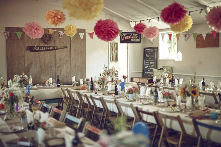 Family friendly seaside diy village hall wedding whimsical pom poms bunting decor family friendly diy village hall wedding http junglespirit Gallery