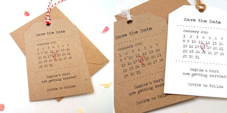 Retro Calendar Luggage Tags Save The Dates Stationery Hummingbird Cards