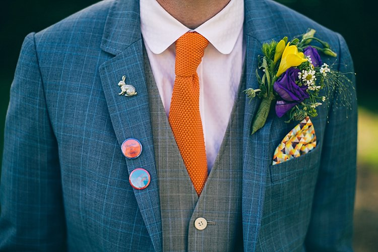 Knitted Tie Badges Buttonhole Pocket Square Groom Playful Alice in Wonderland Fete Wedding http://www.lifelinephotography.co.uk/