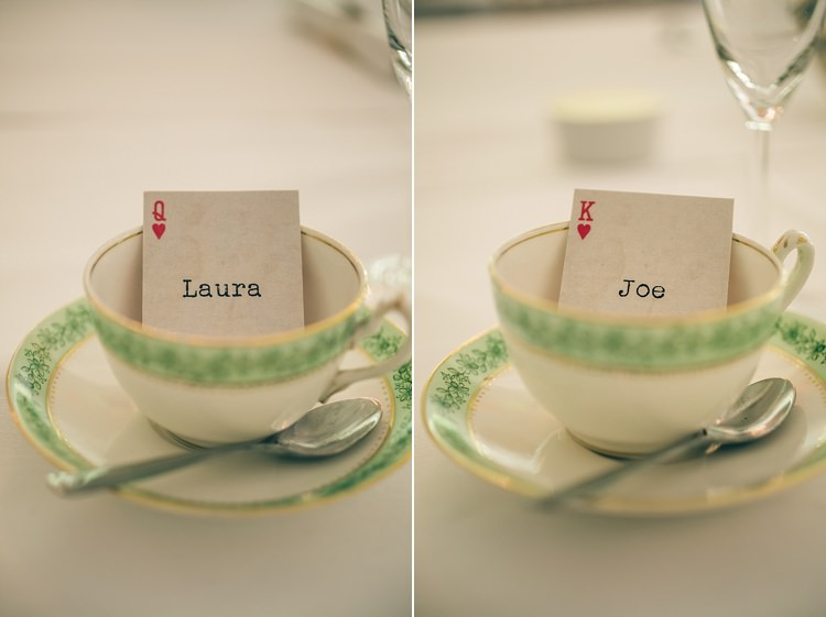 Playing Card Tea Cup Place Names Playful Alice in Wonderland Fete Wedding http://www.lifelinephotography.co.uk/