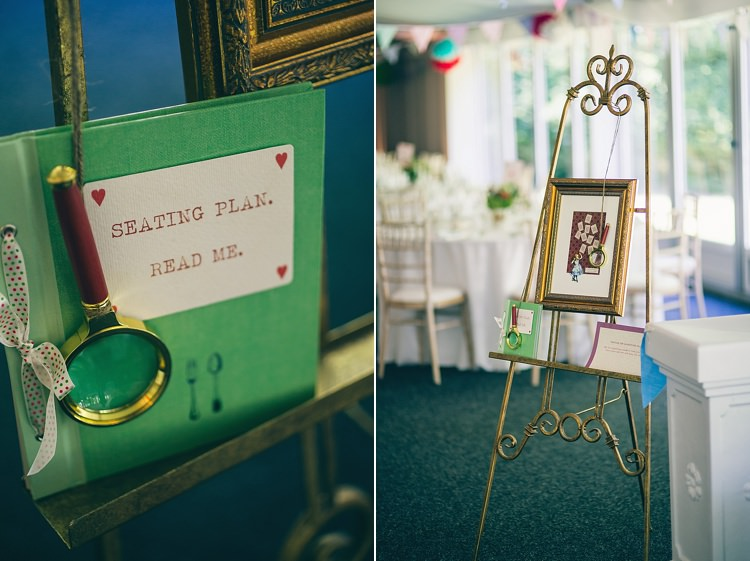 Seating Table Plan Magnifying Glass Playful Alice in Wonderland Fete Wedding http://www.lifelinephotography.co.uk/