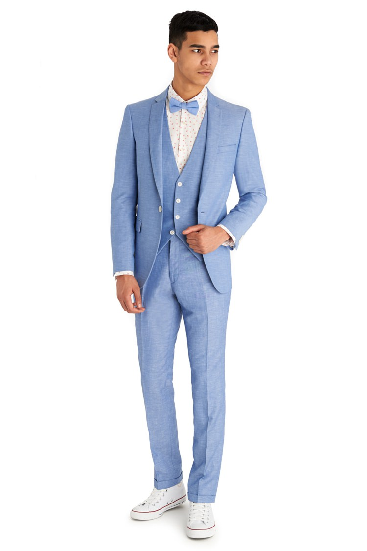 Moss Bros Suits Groom Style Blue Bow Tie