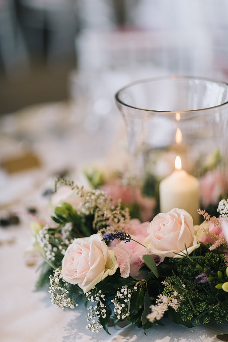 Candle Roses Flowers Table Centrepiece Soft Whimsical Natural Rustic Wedding http://emilyhannah.com/