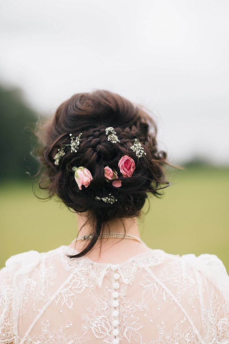 Plait Braid Hair Style Up Do Flowers Bride Bridal Soft Whimsical Natural Rustic Wedding http://emilyhannah.com/