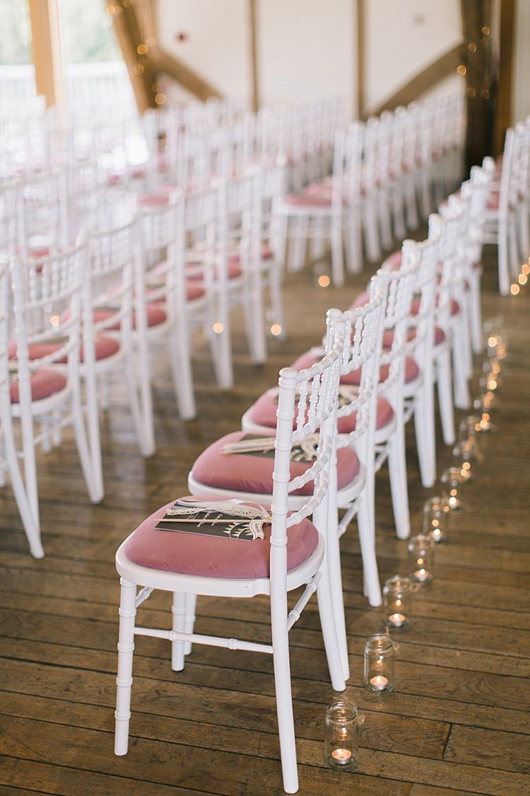 Pink White Chairs Ceremony Candles Soft Whimsical Natural Rustic Wedding http://emilyhannah.com/
