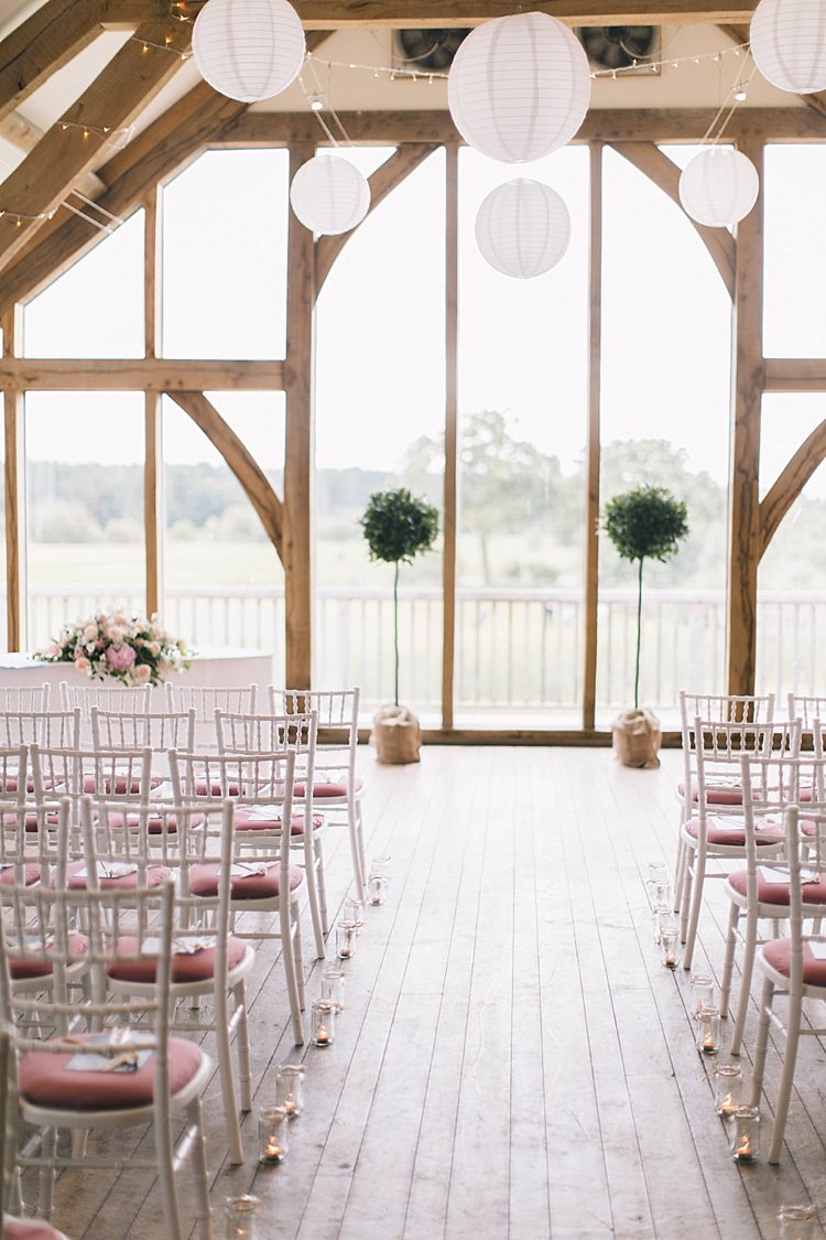 Candles Trees White Pink Chairs Ceremony Soft Whimsical Natural Rustic Wedding http://emilyhannah.com/