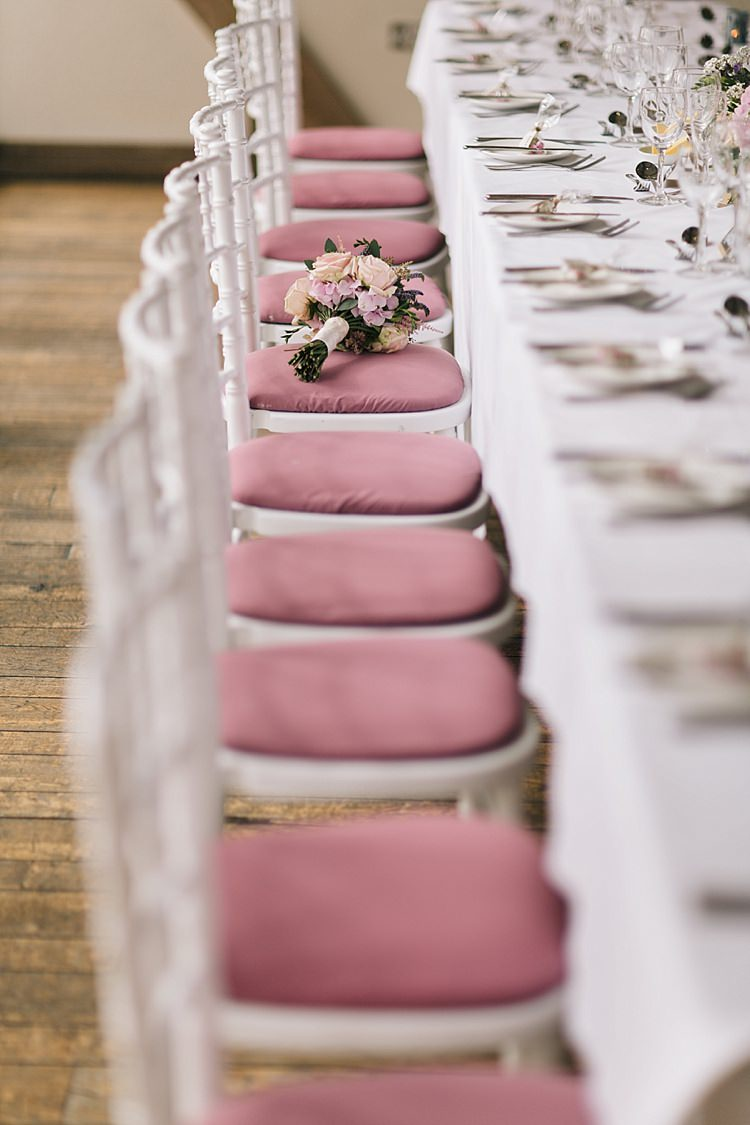 Pink White Chairs Table Soft Whimsical Natural Rustic Wedding http://emilyhannah.com/