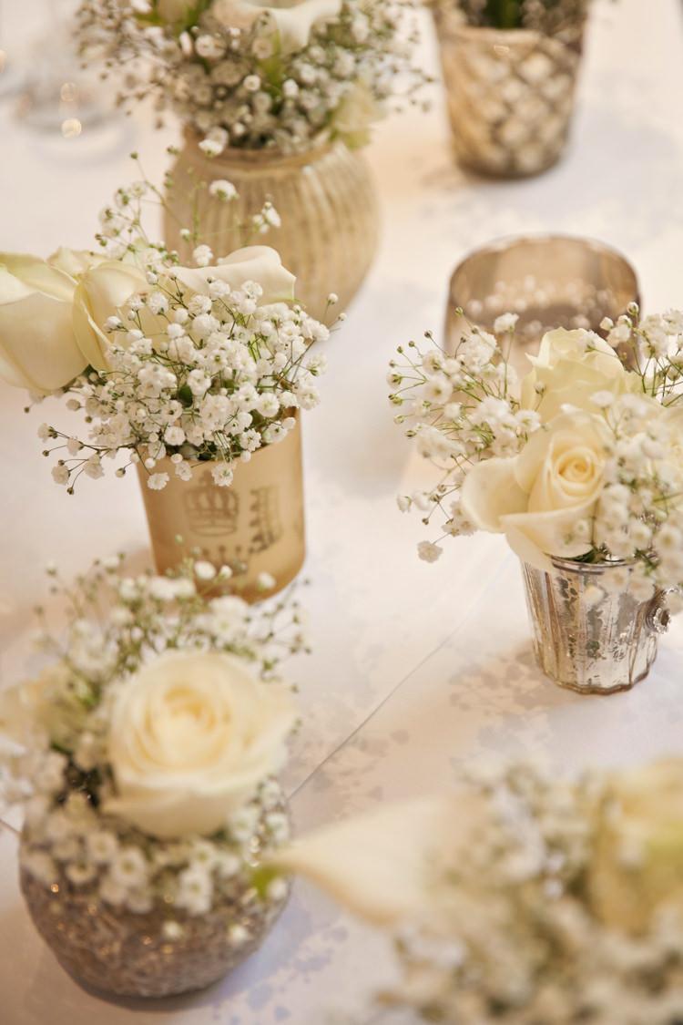 Gold Votives White Flowers Baby Breath Gypsohila Tables Centrepiece Classic Chic Simple Elegant Champagne Wedding Kent http://kerryannduffy.com/