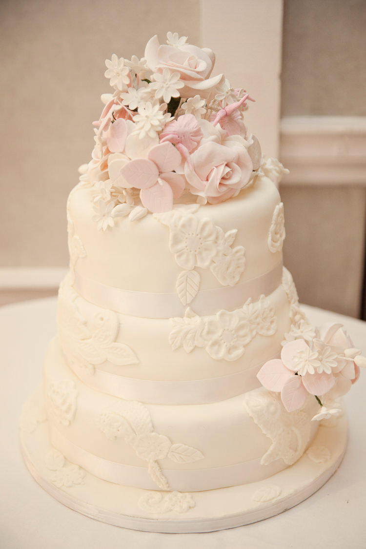 White Flower Pink Floral Cake Classic Chic Simple Elegant Champagne Wedding Kent http://kerryannduffy.com/