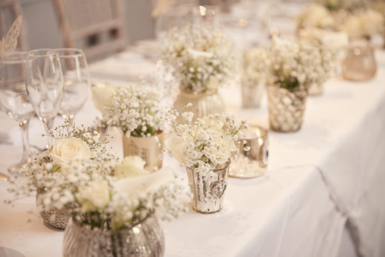 Gold Votives Flowers White Cream Ivory Classic Chic Simple Elegant Champagne Wedding Kent http://kerryannduffy.com/