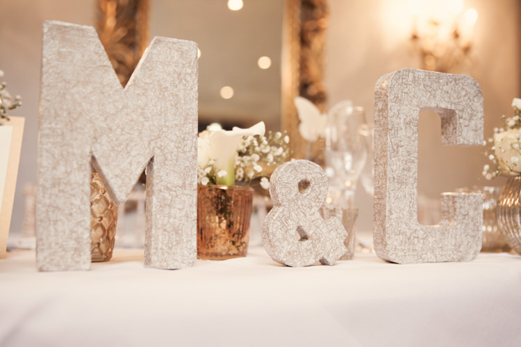 Initials Letters Top Table Decor Classic Chic Simple Elegant Champagne Wedding Kent http://kerryannduffy.com/