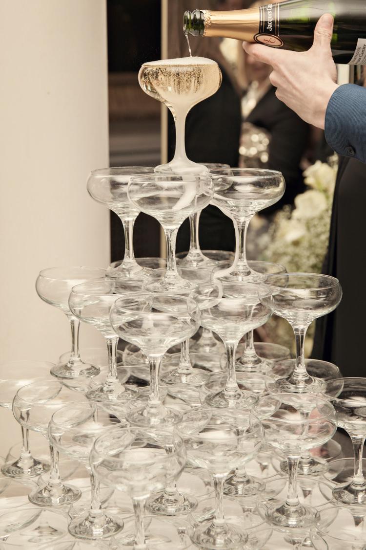 Classic Chic Simple Elegant Champagne Tower Drinks Wedding Kent http://kerryannduffy.com/