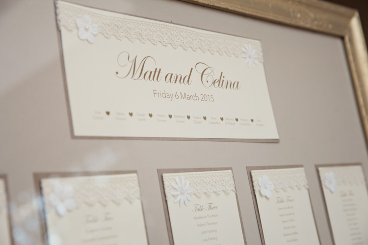 Stationery Table Plan Seating Chart Classic Chic Simple Elegant Champagne Wedding Kent http://kerryannduffy.com/