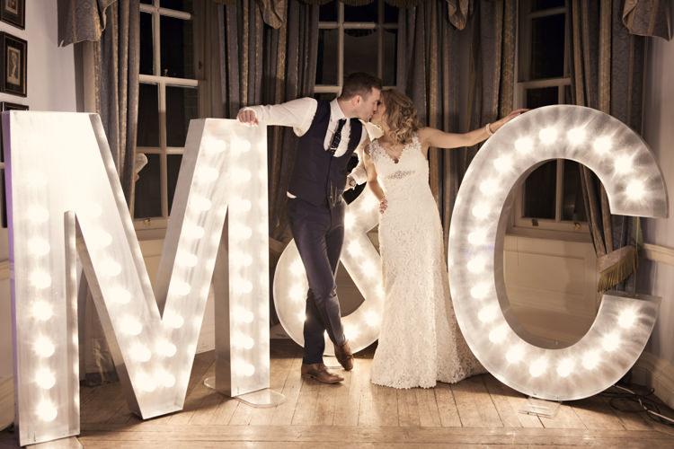 Letter Lights Classic Chic Simple Elegant Champagne Wedding Kent http://kerryannduffy.com/