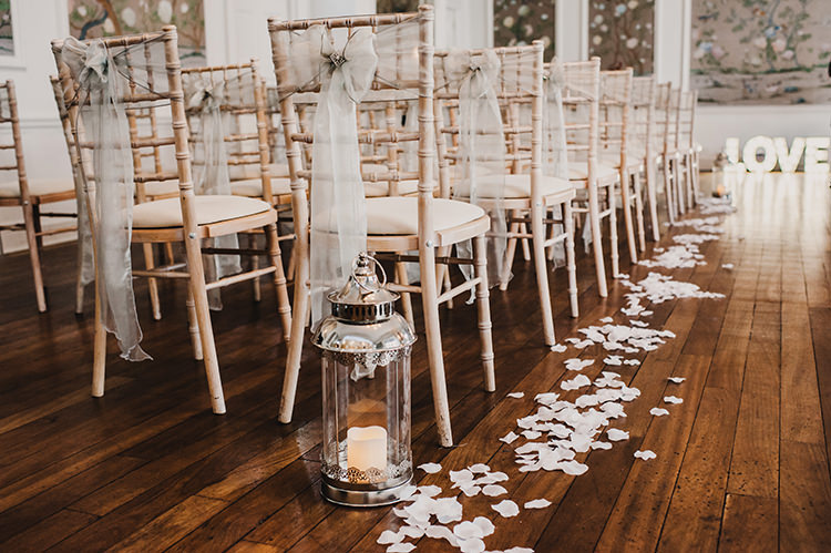 White Chairs Aisle Decor Petals Candles Glamorous Gatsby 1920s Speakeasy Winter Wedding Http