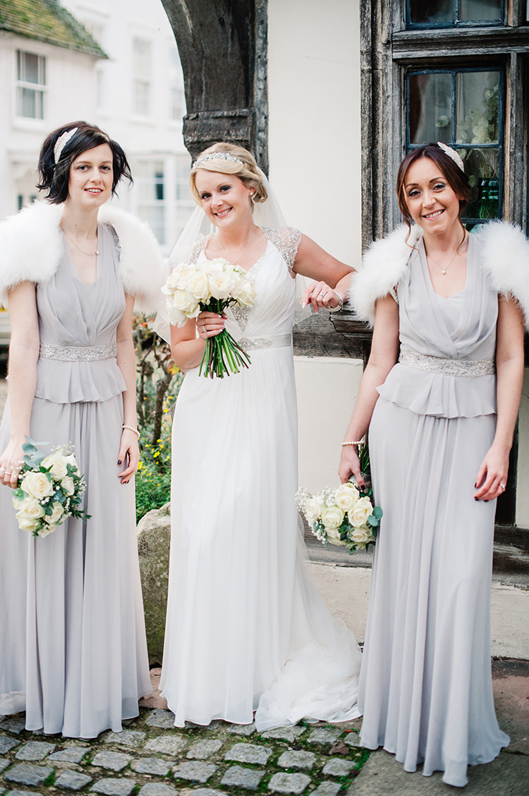 Glamorous gatsby 1920s speakeasy winter wedding whimsical pale grey bridesmaid dresses long glamorous gatsby 1920s speakeasy winter wedding httpwww ombrellifo Gallery
